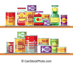 Red tomato soup and canned food vector illustration