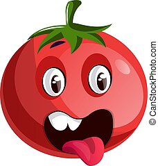 Red tomato sticking his tongue out illustration vector on white background