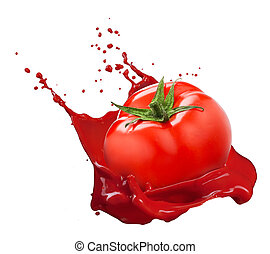 Red tomato with juice splash isolated on white