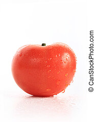 red tomato with water drops, isolated on white background