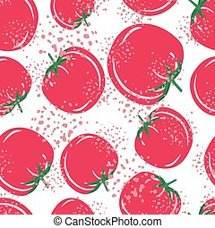 Red tomatoes background. Organic healthy vegetable wallpaper. Doodle tomato seamless pattern for fabric design.