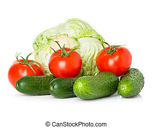 Red tomatoes, green cucumbers and cabbage
