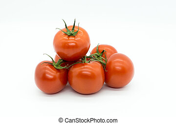 Red Tomatoes on a small pile of white Background