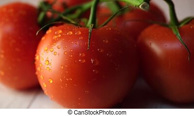 Red tomatoes on white wooden background. The view from the top. Washed vegetables on a branch with drops of water. The concept of raw foods. Healthy food.