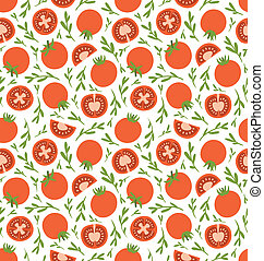 Red tomatoes seamless pattern