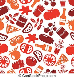 red tomatoes theme simple icons seamless pattern eps10