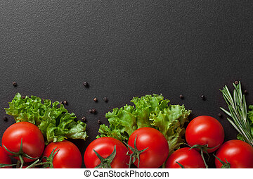 red tomatoes with green salad
