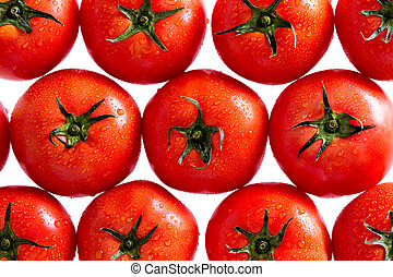 Plenty of Healthy Fresh Red Tomatoes with Water Drops in a Pattern, Isolated on a White Background, Can be Used for Backgrounds.