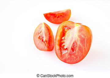 Red tomatos on a white background
