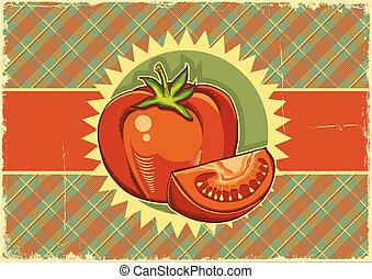 Red tomatos.Vintage label background on old paper