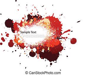 Red tone color splash on white