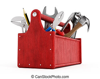 Red toolbox full of hand tools