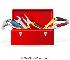 Opened red toolbox with set of different tools