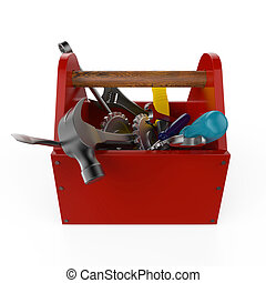Red toolbox with tools. Sckrewdriver, hammer, handsaw and wrench. Under construction, maintenance, fix, repair, premium service. High quality render, isolated.