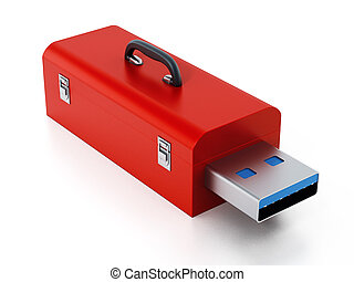 Red toolbox with usb 3.0 plug. 3D illustration - Red toolbox...