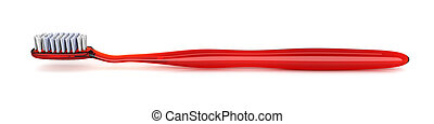 Red Toothbrush - 3D rendered Illustration. isolated on white...