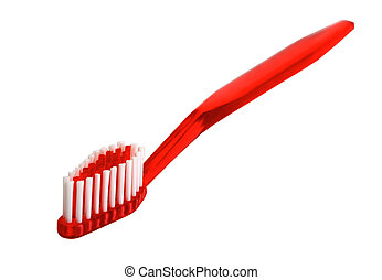 red toothbrush isolated on the background