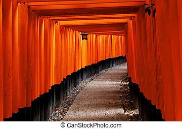 Fushimi Inari Shrine - Red Tori Gate at Fushimi Inari Shrine...