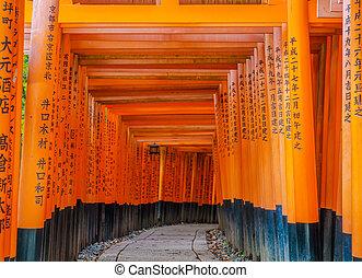 Red Tori Gate at Fushimi Inari Shrine Temple in Kyoto, Japan