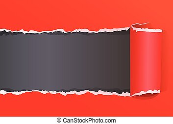 Red Torn Color Wrapped Paper With Copy Space For Message