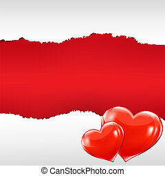 Red Torn Poster With Hearts