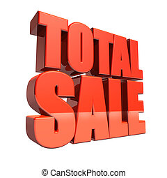 Red total sale 3D text isolated on white background.