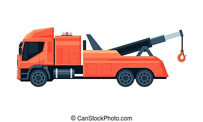Red Tow Truck, Evacuation Vehicle, Road Assistance Service, Side View Flat Vector Illustration