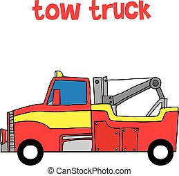 Red tow truck vector illustration