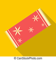 Red towel icon, flat style