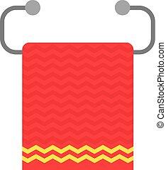 red towel on metal holder. concept of paper washcloth, rag,...