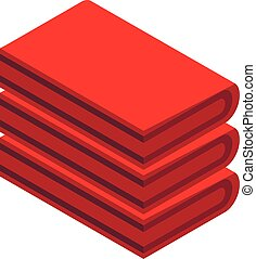 Red towel stack icon, isometric style - Red towel stack...