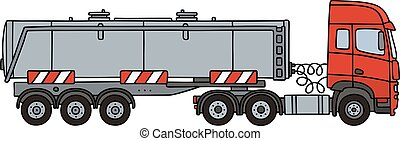 Red towing truck with a tank semitrailer