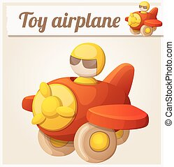 Red toy airplane. Cartoon vector illustration