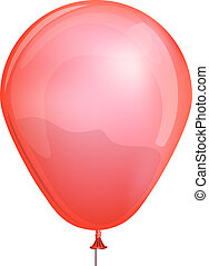 Red toy balloon isolated on white background vector illustration.