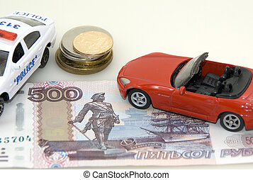 Red toy car, money and documents
