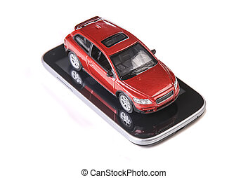 red toy car on smartphone isolated