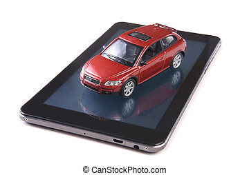 red toy car on tablet