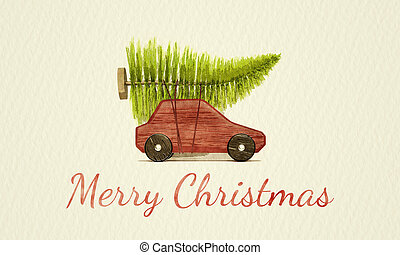 red toy car with green christmas tree water color painting