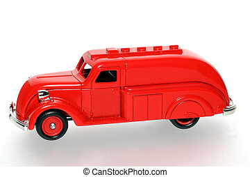 red toy tank truck