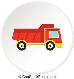 Red toy truck icon circle