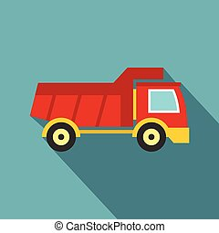 Red toy truck icon, flat style