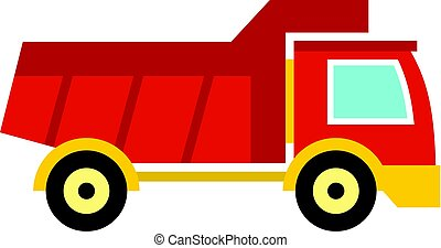 Red toy truck icon isolated