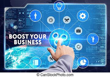 red, trabajando, concept., joven, virtual, empresa / negocio, empresa / negocio, internet, hombre de negocios, alza, su, screen:, tecnología