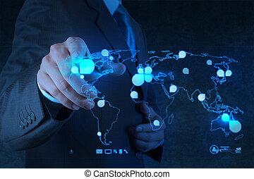 red, trabajando, exposición, moderno, computadora, hombre de negocios, nuevo, estructura, social