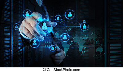 red, trabajando, exposición, moderno, computadora, hombre de negocios, nuevo, social