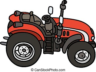 Hand drawing of a red small open tractor - not a real model