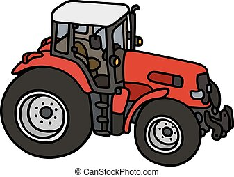 Hand drawing of a red tractor - not a real model