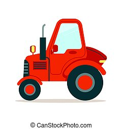 Red tractor, heavy agricultural machinery colorful cartoon vector Illustration