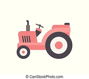 Red Tractor icon. flat style. isolated on white background