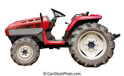 red tractor isolated on white background